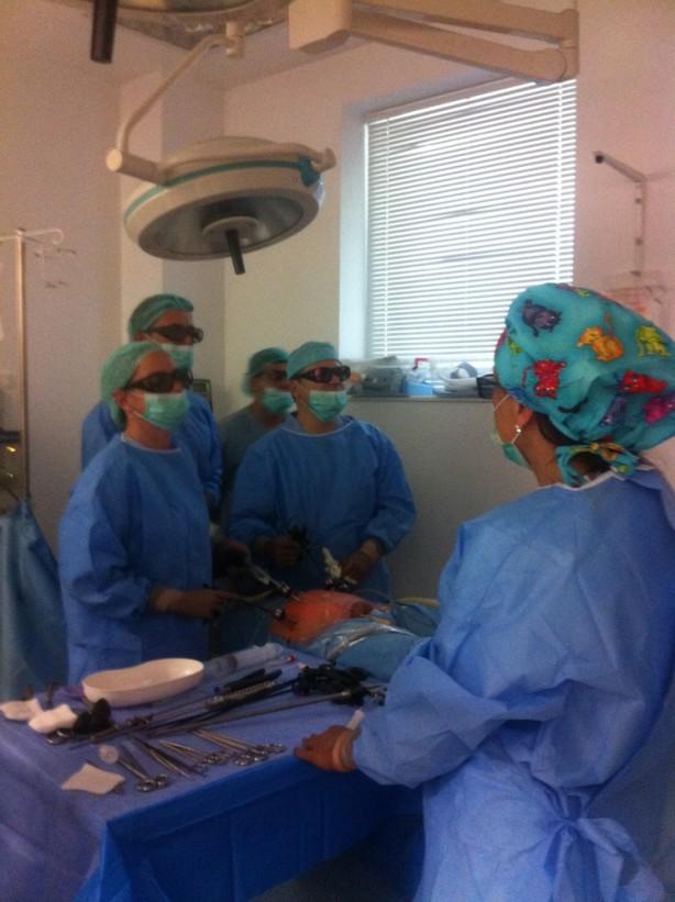 Проф. д-р Йенс-Уве Щолценбург отстранява прецизно рак на простатата като наблюдава тумора на специален 3D екран, асистира му д-р Дител
